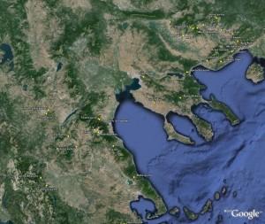 Κατανομή μέρους σπηλαίων στο google earth